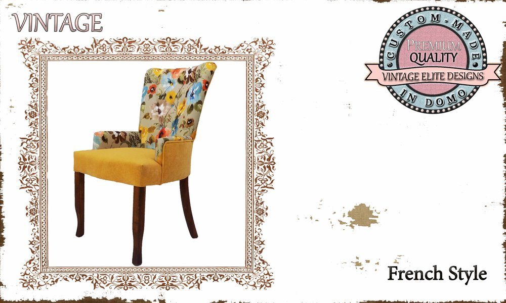 """""""Elegant design"""" CHAIR PERSONALIsED BY YOUR CHOICE OF PAINTS AND FABRICS. (TO ORDER AT €290 + 1.5 MTR FABRIC)"""