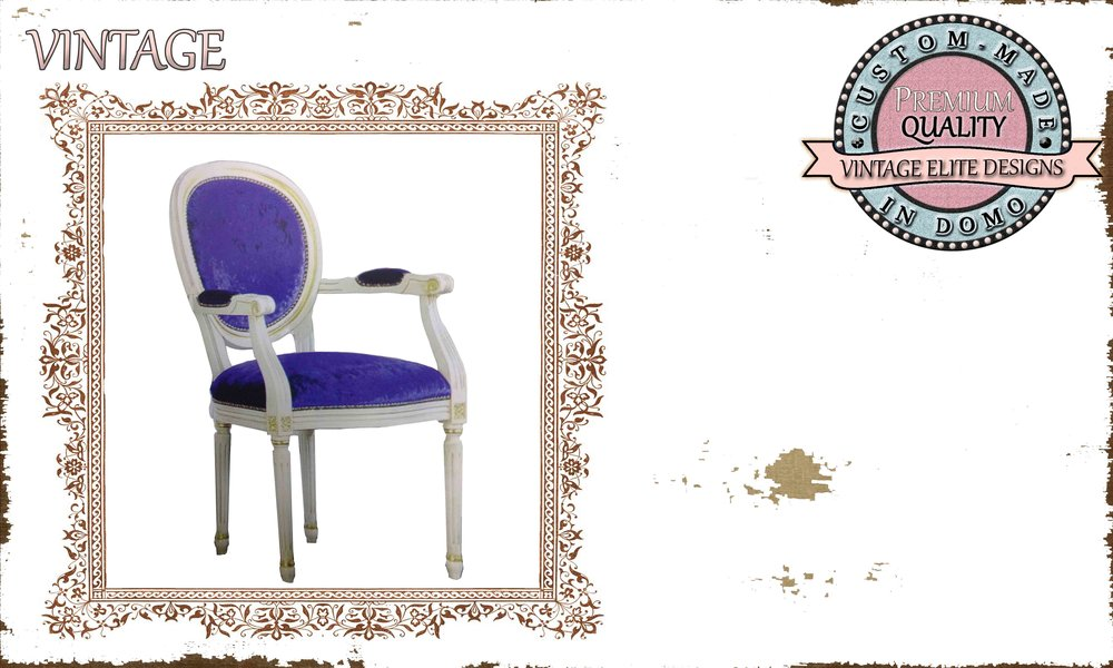 """""""LUIGI"""" CHAIR with arms PERSONALIsED BY YOUR CHOICE OF PAINTS AND FABRICS. (TO ORDER AT €250 + 1 MTR FABRIC)"""
