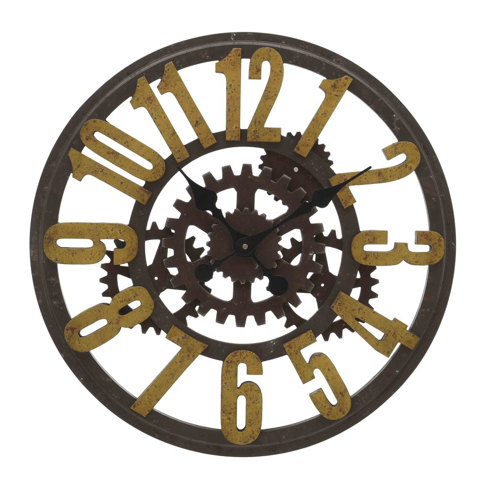 €120 WOODEN WALL CLOCK IN ANTIQUE BROWN COLOR 60X5X60