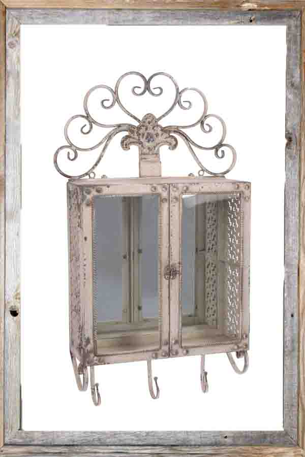 €230 METAL MIRRORED WALL CABINET IN ANTIQUE CREAM COLOR 46X16X79