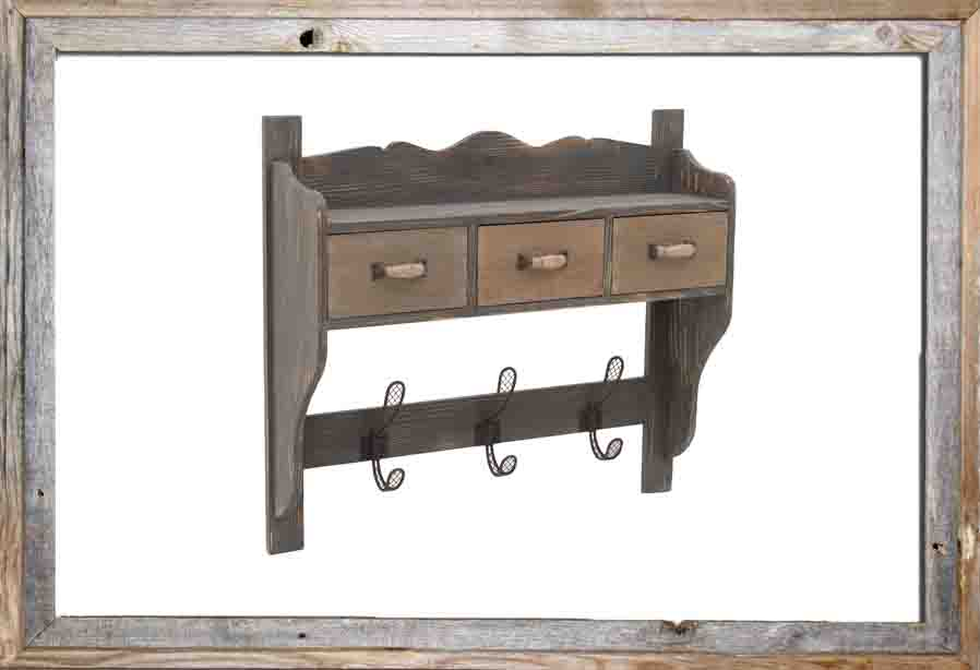 €90 WOODEN SHELF/HANGER IN BROWN COLOR 62.5X16X54