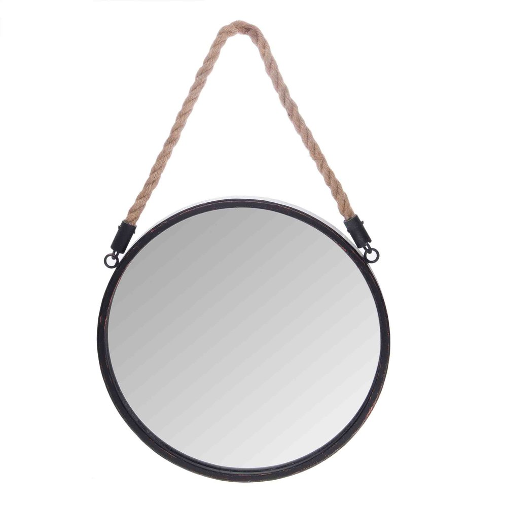 €30 METAL WALL MIRROR WITH ROPE  25X2X25/37