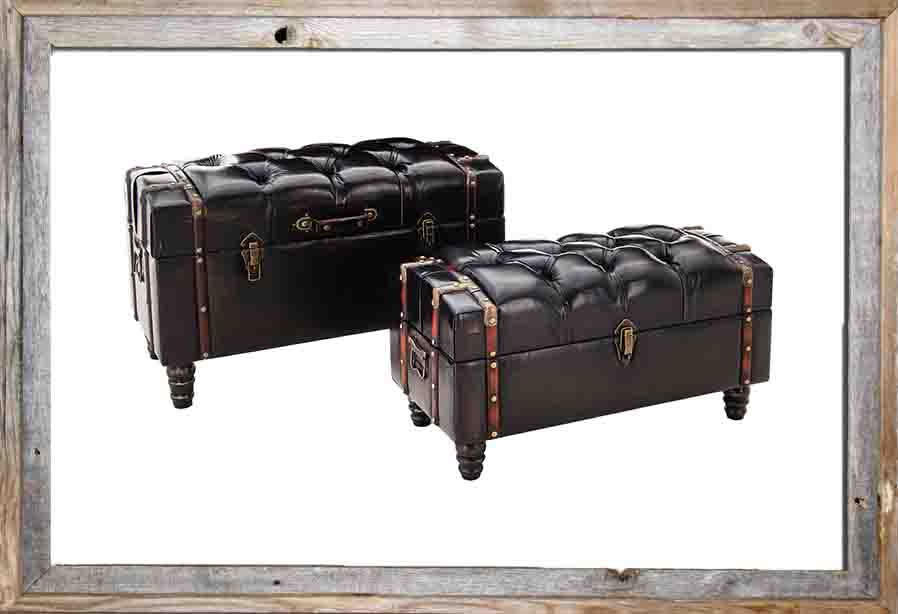 €550 S/2 PU STOOL/TRUNK IN DARK BROWN COLOR 82X42X50