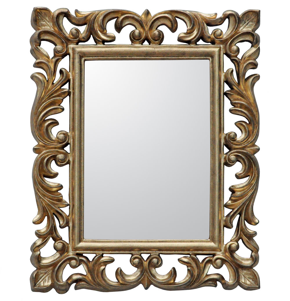 €60 POLYRESIN WALL MIRROR IN GOLD  COLOR 36Χ3Χ50