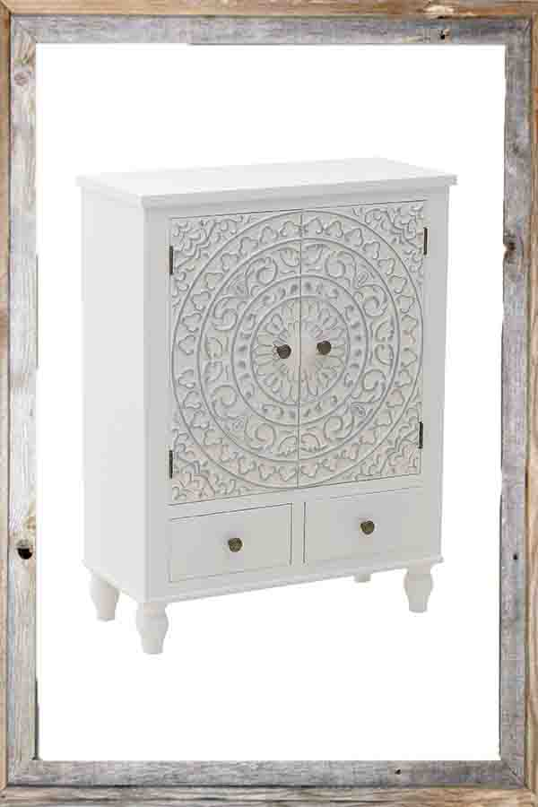 €450 WOODEN CABINET W/2 DRAWERS IN WHITE COLOR 65X30X86.5
