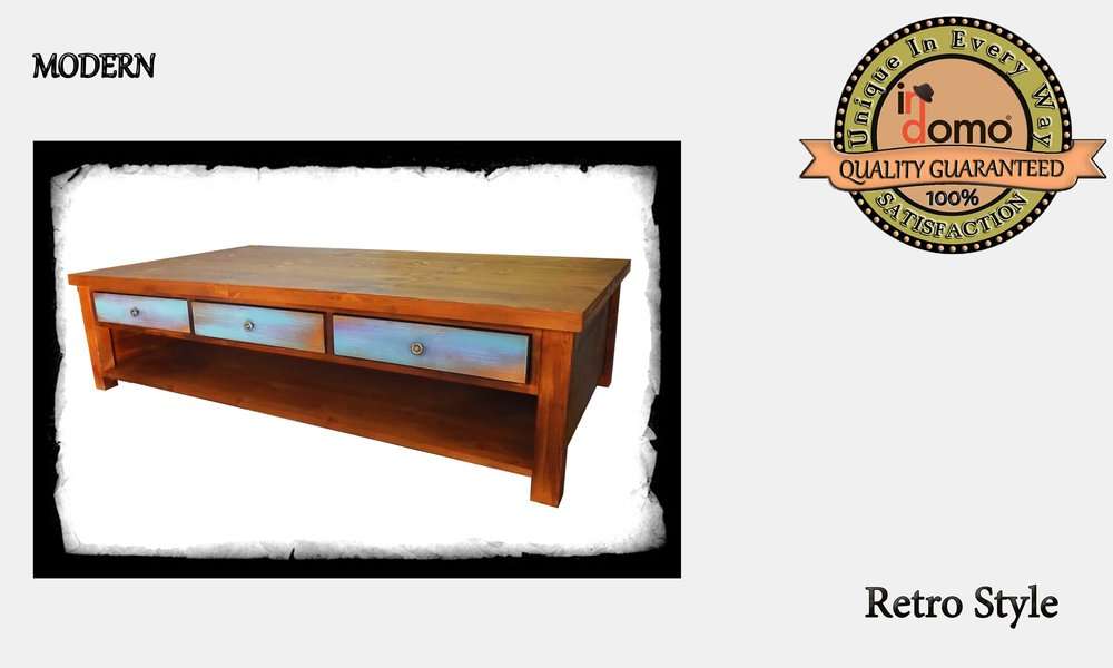 CUSTOM-MADE wooden coffee table with 3 large drawers  PERSONALIZED BY YOUR CHOICE OF PAINTS AND DIMENSIONS. 150x85x40cm  (TO ORDER at €650)