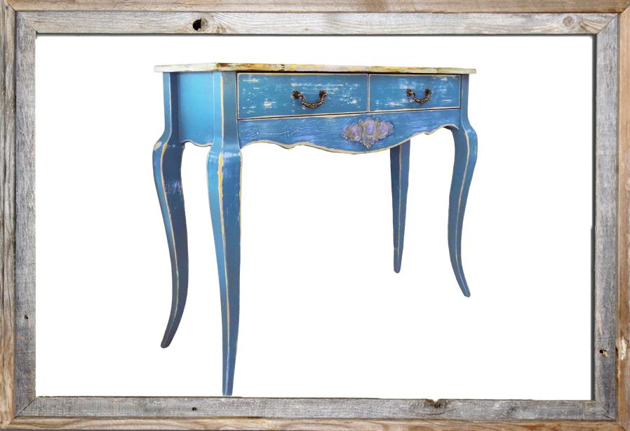 "Vintage Distressed ""azure"" Console Table 110CM LENGHT"