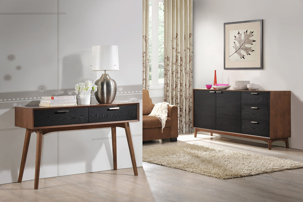 Retro Style - Featuring buffet, tv-stand and console table.