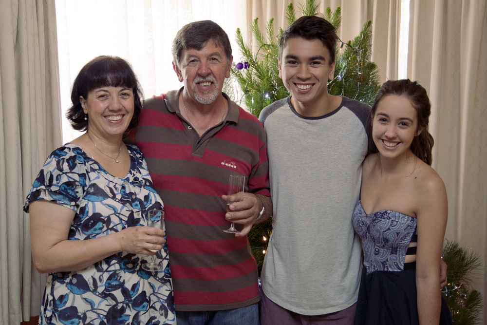 My beautiful family. (left to right: mum, dad, James (boyfriend), Me)
