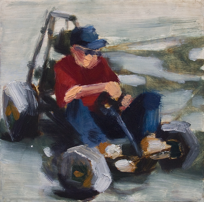 Johnny Go Riding 7, 6 inches x 6 inches, oil on panel, 2012