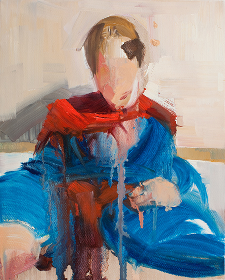 Untitled (Man of Tomorrow 05), 10 x 8 inches, oil on canvas, 2010