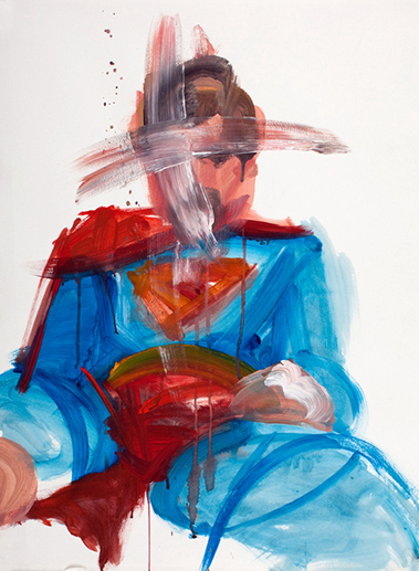 Superman Study 06, 30 x 22 inches, acrylic on paper, 2010