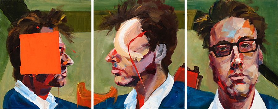 Three Different Ways (triptych), each panel 24 x 20 inches, acrylic on canvas, 2009