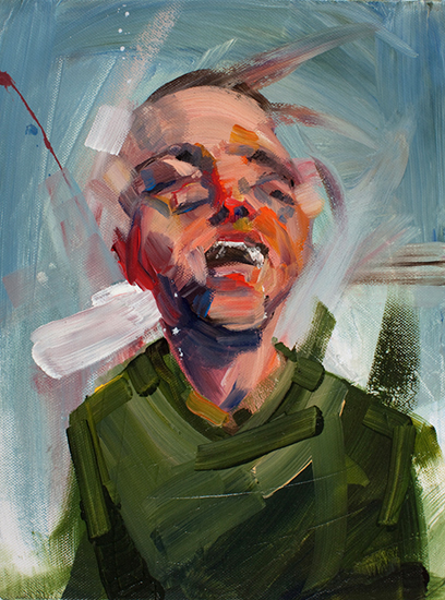 Small Portrait Study (Zefrey Laughing), 12 x 9 inches, acrylic on canvas, 2009