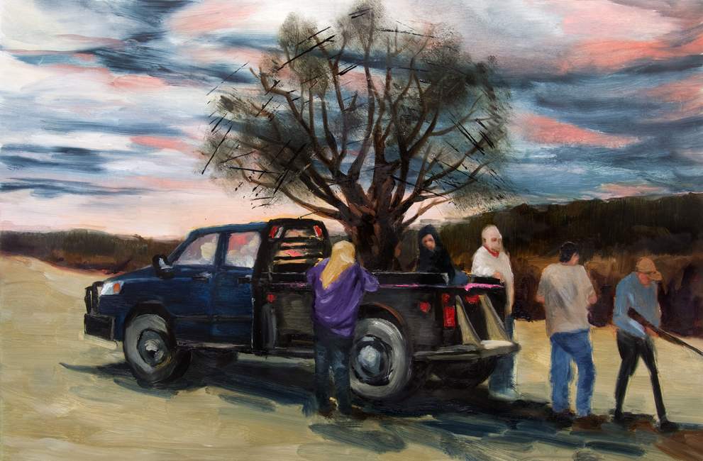 "The Sunset Tree, 22"" x 30"" oil on paper, 2013"