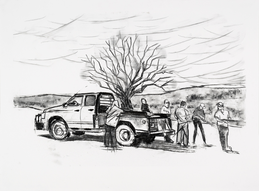 "Truck, 22"" x 30"" charcoal on paper, 2013"
