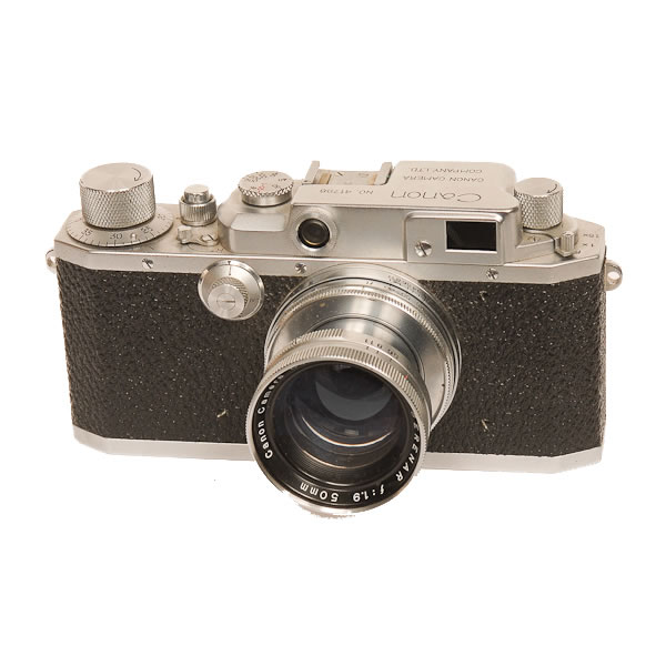 Canon IIB   1949-1952  When the Seiki-Kogaku firm was founded in 1930 they sold their 35mm cameras under the name Kwanon. In 1947 the firm name was changed to Canon. The Canon IIB hence was one of the very early cameras to be sold under the Canon name.
