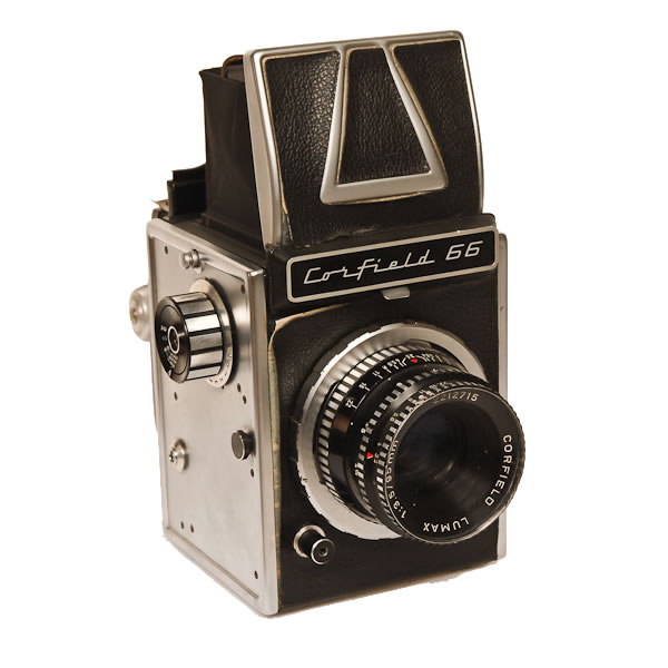 Corfield 66   1966 A 6x6cm on 120 film camera made in England. It is believed that only 300 were made. Corfield was started in 1948 and stopped making cameras in 1961.