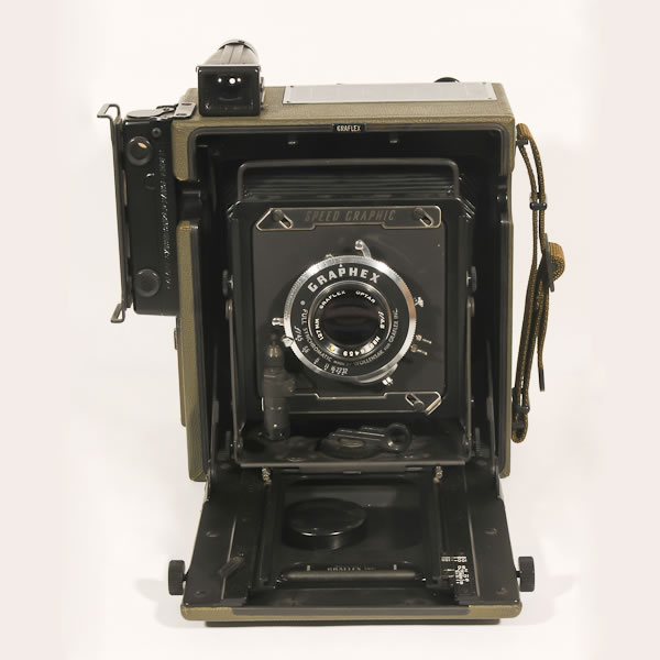 "Graflex Speed Graphic KE-12   1953-1955. 4x5"" plate camera. Like the civilian models these cameras were extremely rugged."