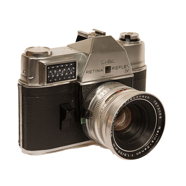 Kodak Retina Reflex 4   1964-1966 A later example of the rigid body (non-folding) style of the Retina cameras which were introduced in 1959. The Retina series of cameras were manufactured from 1934-1969.