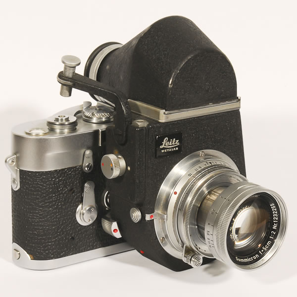 Leica M3 DS   1954-1966. One of the most sought after of all Leicas. Often thought of as one of the finest cameras ever made. This is a double stroke advance version with a Visoflex III adapter. The Visoflex turned a rangefinder camera into a SLR.
