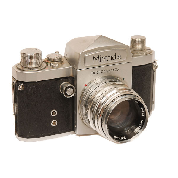 Miranda T   1954-1956. The Miranda Camera Company started in 1946 during the American occupation of Japan. They manufactured products for other companies such as Contax, Nikon and Leica. Miranda made over 30 SLR models before it closed in 1978. The Miranda T is a 35mm SLR with a removable pentaprism.
