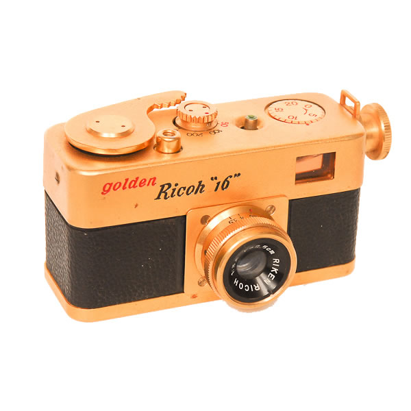Ricoh Golden 16   1957. 25 exposures of 10mm x 14mm on 16mm film. It came with an interchangeable Ricoh f3.5/25mm fixed focus lens.