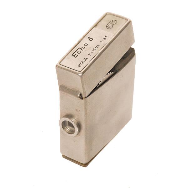 Suzuki Optical Echo 8 1951-1956. Cigarette-lighter camera made to look like a Zippo lighter. Used as a KGB spy camera.