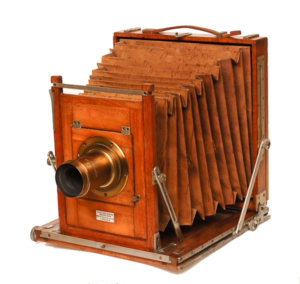 W. Watson Acme   c 1889. Double-extension field camera 8x10 plate Made in London, England.
