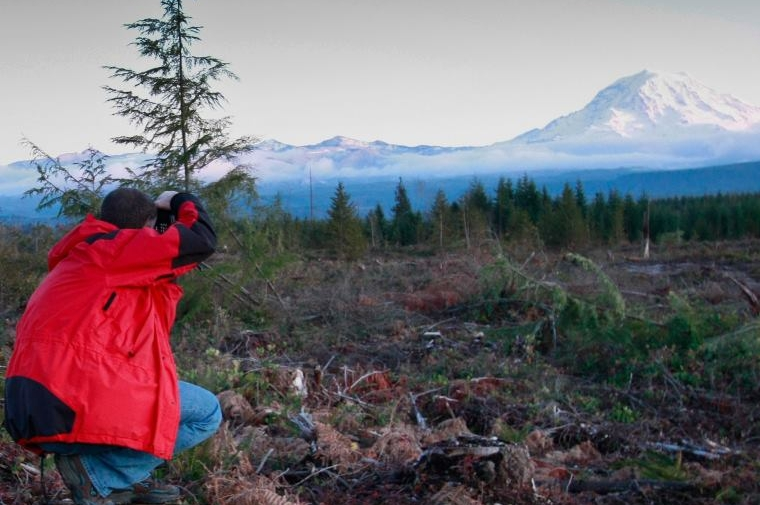 Photographing Mt. Rainier near his house in Bonney Lake, Washington