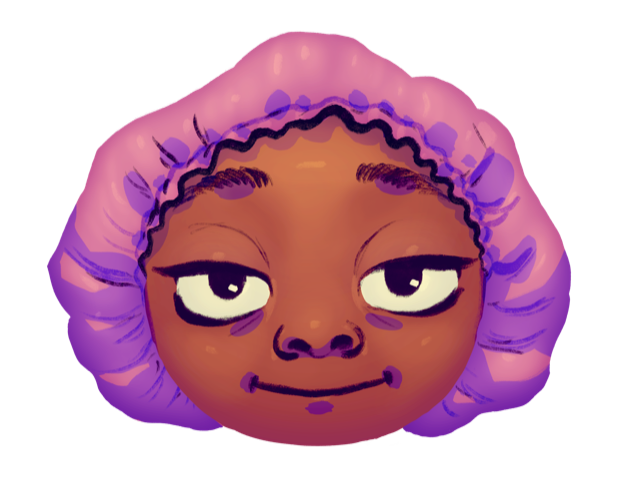 Smile with smug eyes and satin bonnet.png