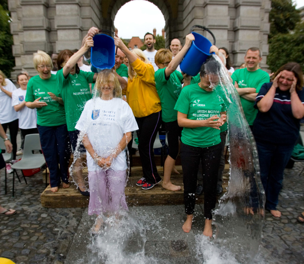 Aisling Farrell, CEO of IMNDA completing the Ice Bucket Challenge in Stephen's Green, Dublin. Image courtesy of IMNDA.