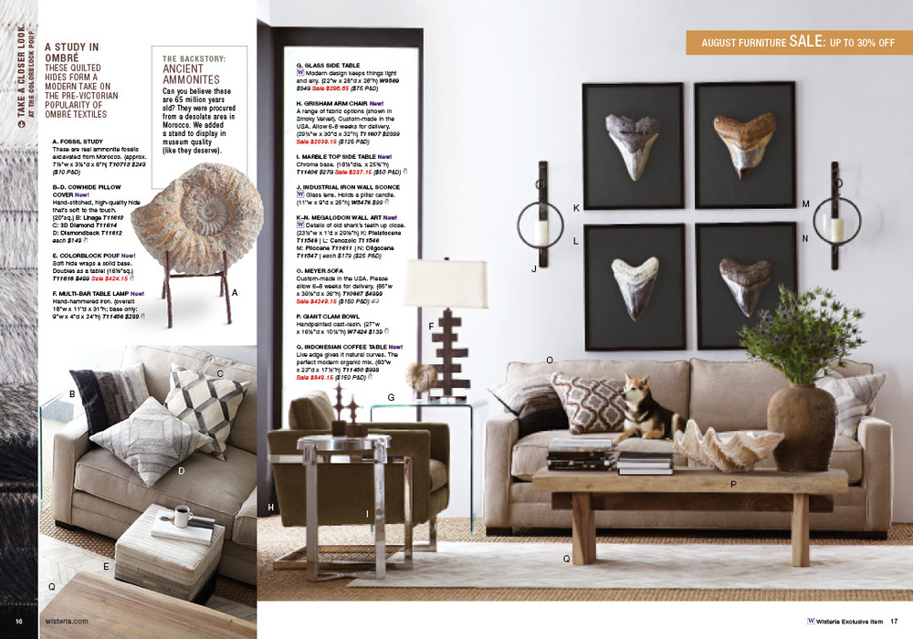 "Every year, our August catalog features our August Furniture Sale. To highlight furniture pieces, the catalog designer and I used a copy treatment for ""A study in..."" to add value proposition and background to a piece on that spread. You'll also notice we have ""The Backstory,"" which fulfills the brand attributes of historical relevance and travel."