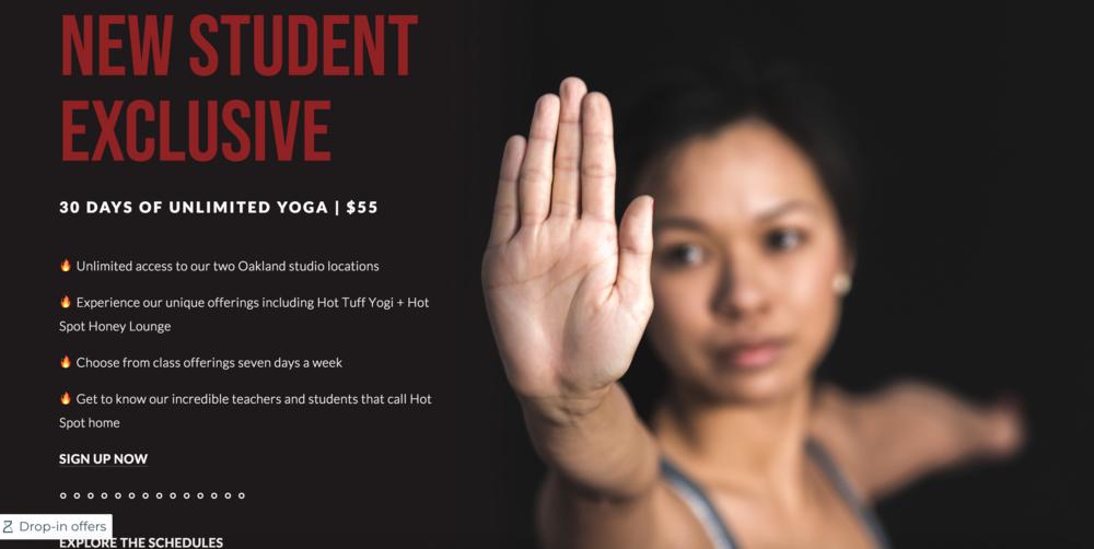 Hot Spot Yoga Oakland - Custom Landing Pages