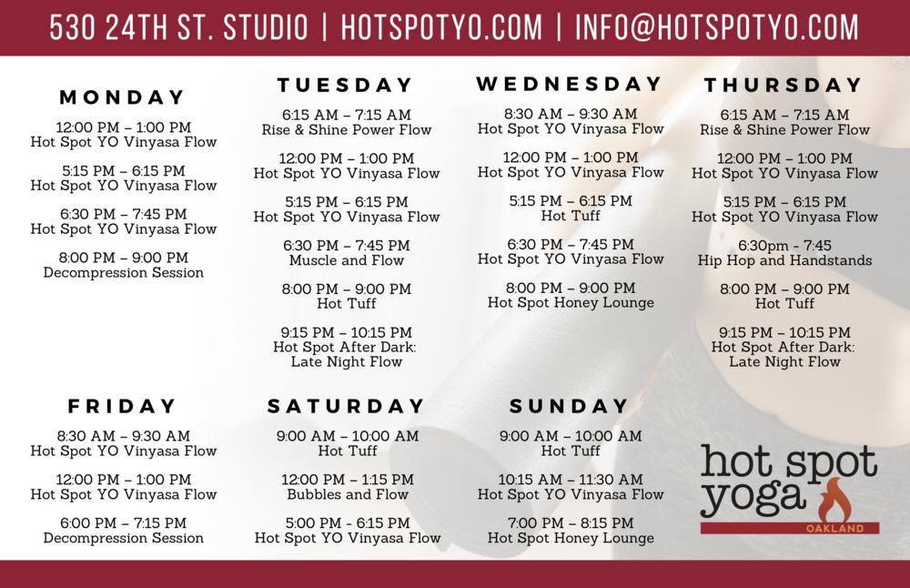 Hot Spot Yoga Oakland Schedule Flyer.png