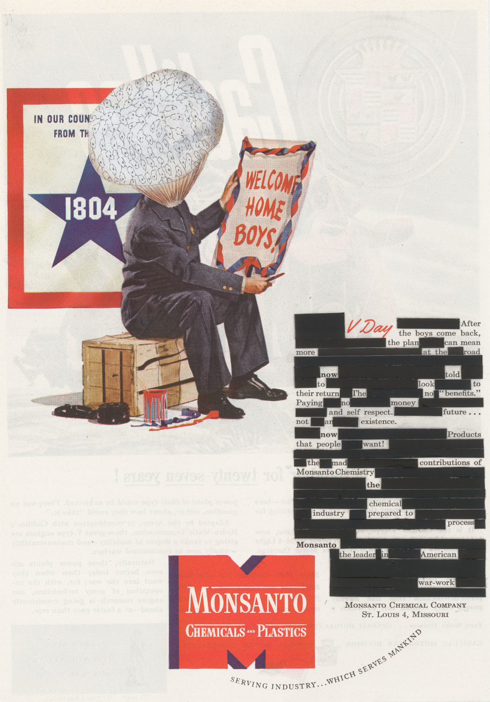 "V Day , collage, graphite,1944 Monsanto magazine advertisement, 11.5"" x 7.5"""