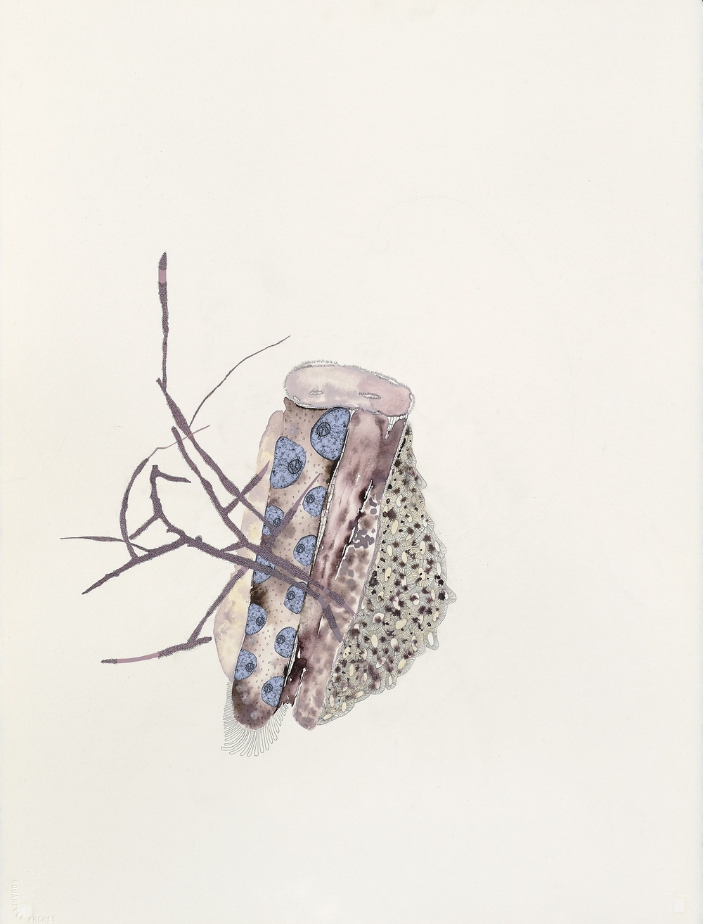"Feral Seed,  gouache, graphite, collage on paper, 30"" x 22"", 2010"