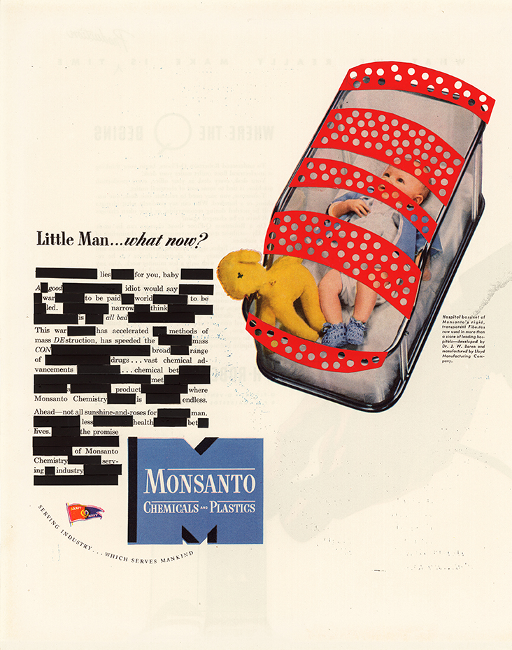 "Little Man ,collage, 1944 Monsanto magazine advertisement, 12.75"" x 10.25"", 2014"
