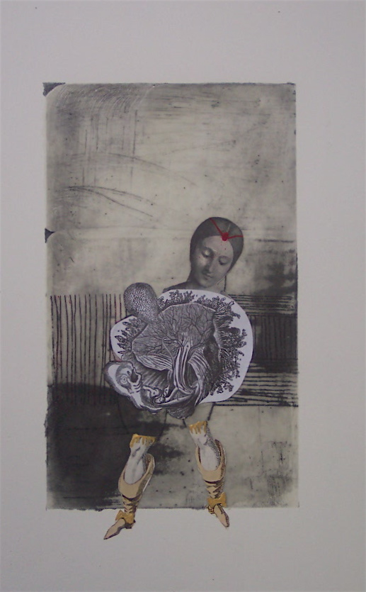 "EQ-7 , wax,oil, acrylic, collage on paper, 22"" x 15"", 2007"