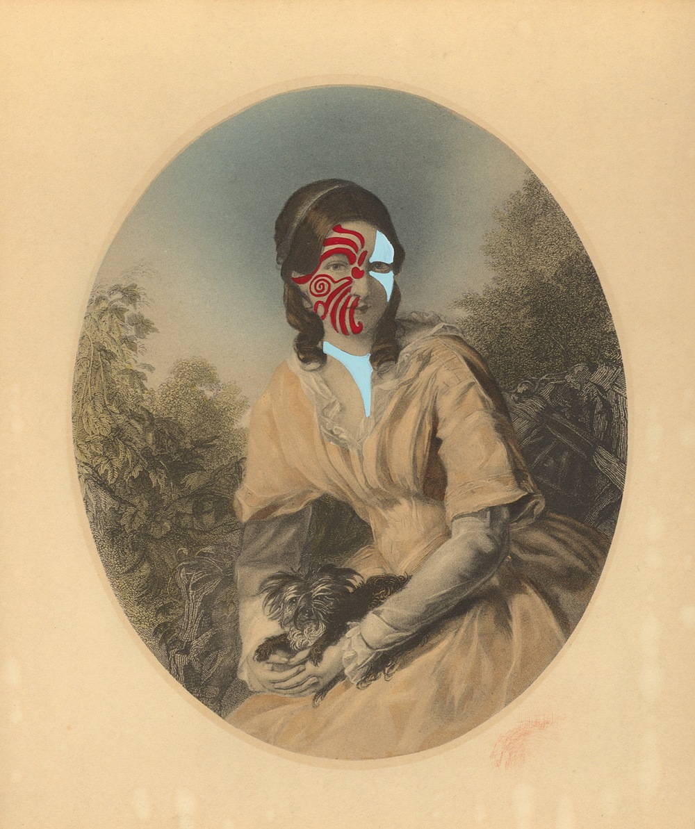 "Mrs. Elijah Hall 1839/2014 , gouache on vintage offset litho, 7"" x 6"", 2014"