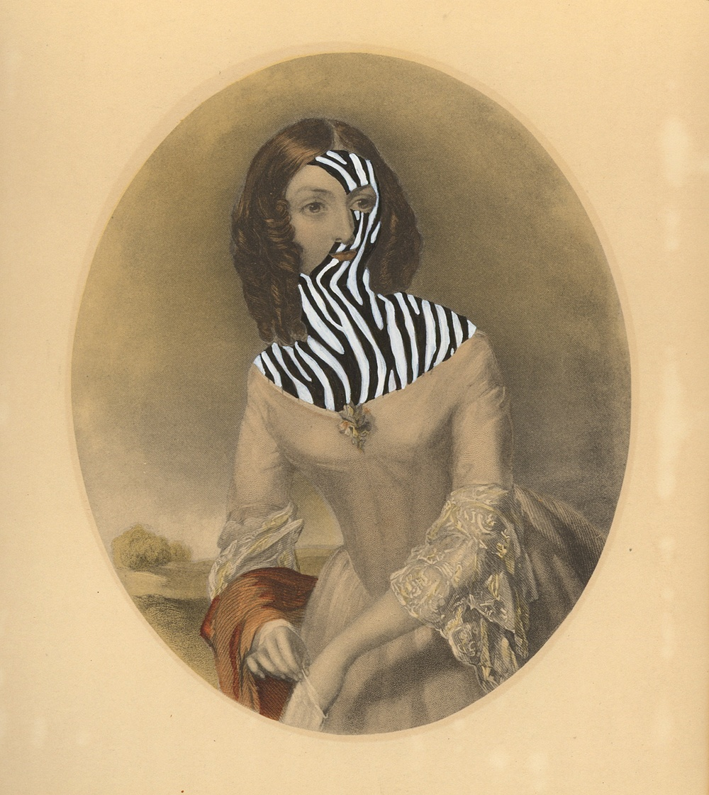 """Mrs.Calvin Hathaway 1840/2014 , gouache and ink on vintage offset litho, 7"""" x 6"""", 2014"""