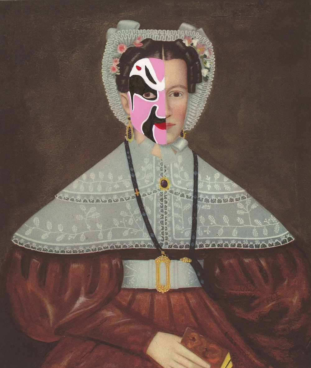 """Mrs. William Barnes 1841/2014 , gouache and ink on book page, 7"""" x 6"""", 2014"""