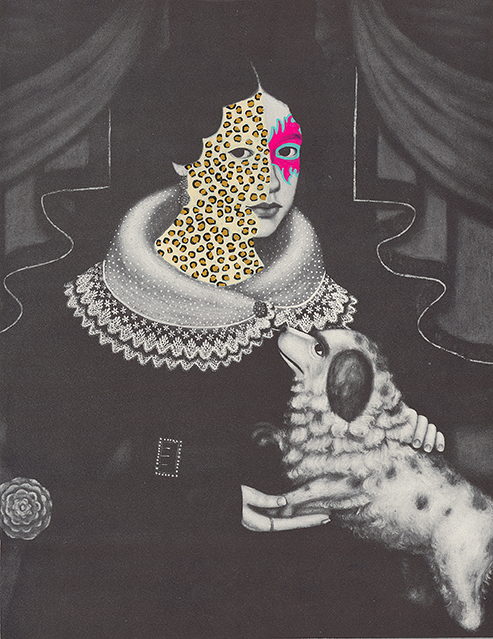 """Mrs. Ezra Thomas 1840/2014, gouache and ink on book page, 9"""" x 7"""", 2014"""