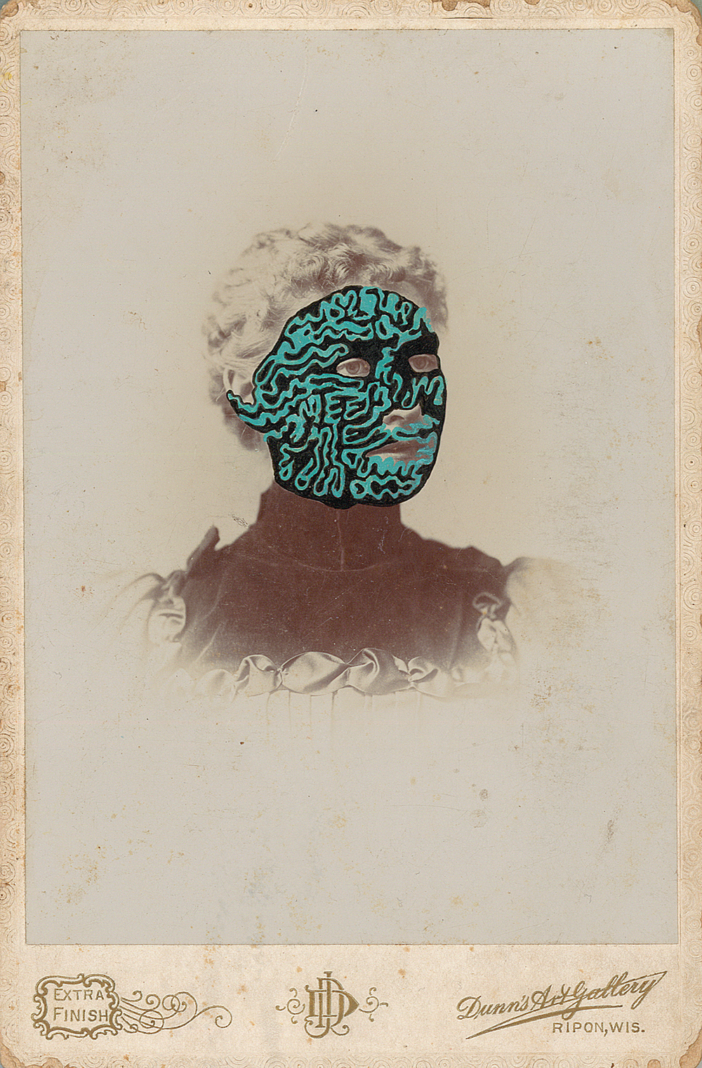 "Mrs. Joseph Plummer 1861/2014 , gouache and ink on vintage photograph, 6.5"" x 4.25"", 2014"