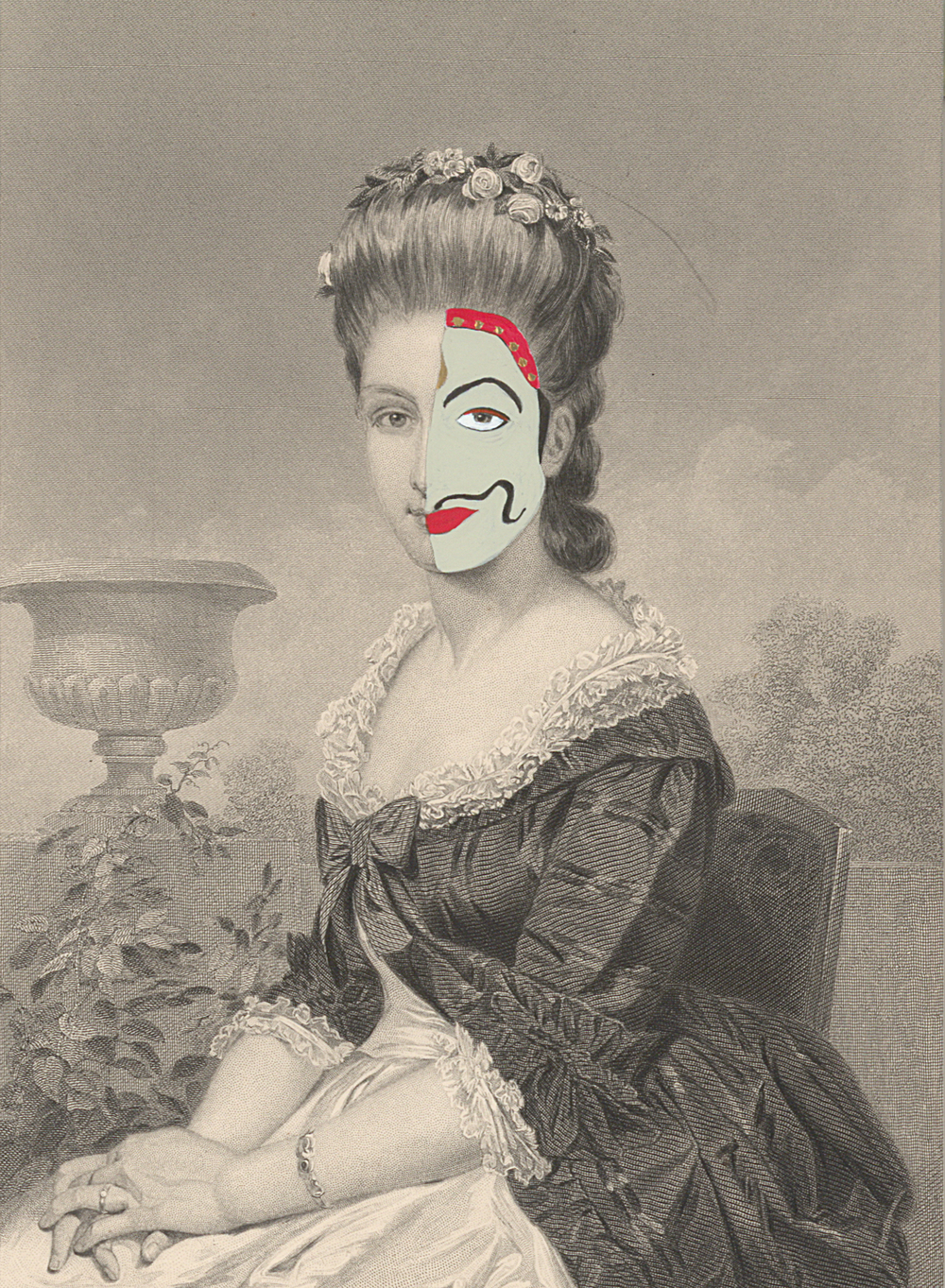 "Miss Lillian Frost 1860/2014 , gouache and ink on 19th century engraving, 7.5"" x 5"", 2014"