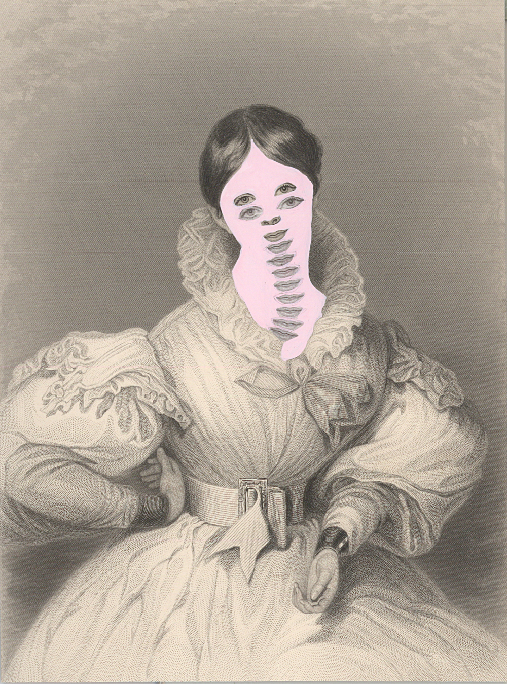 "Mrs. John Goldsmith 1861/2014 , gouache and collage on 19th century engraving, 7.5"" x 5"", 2014"