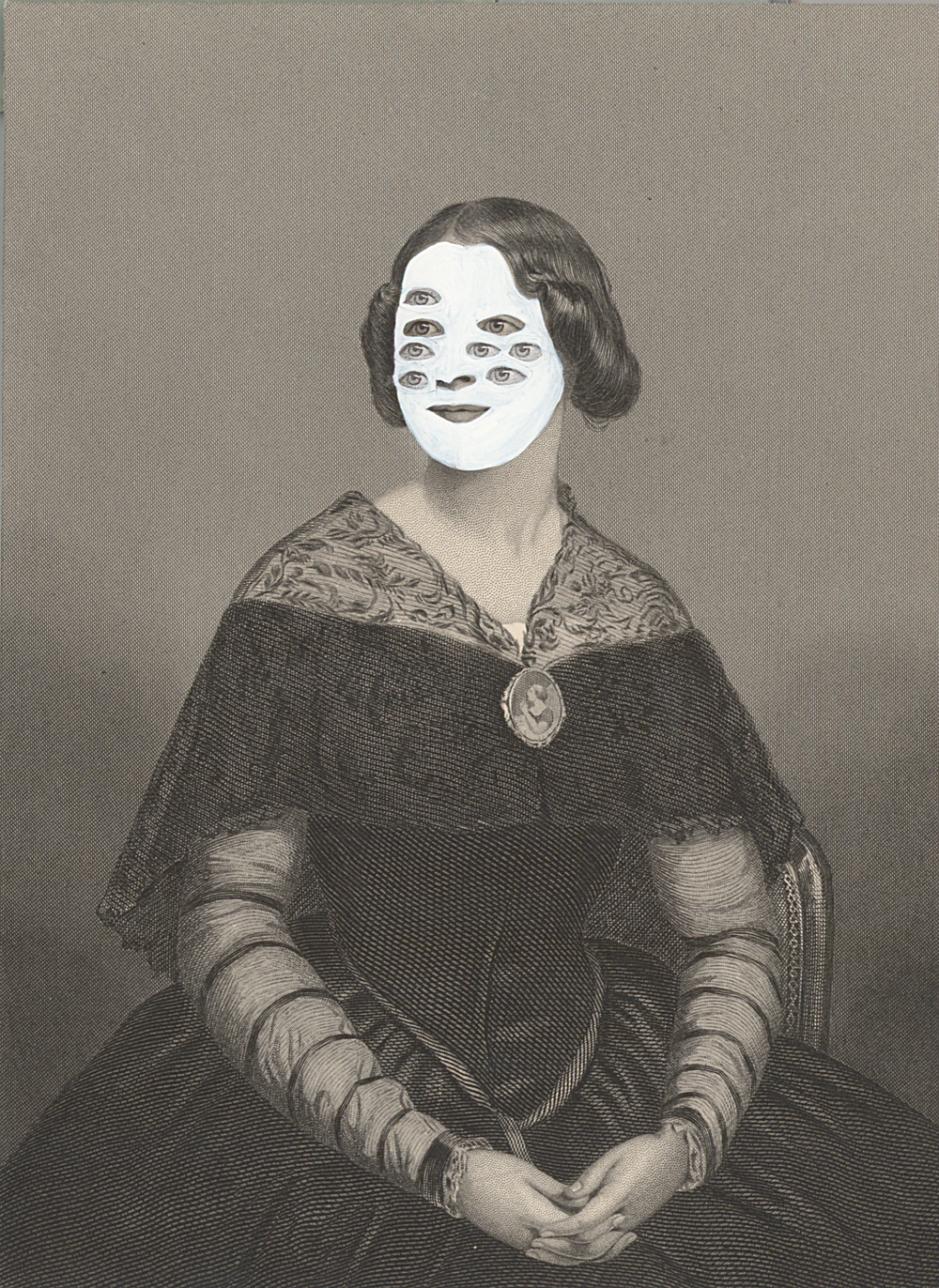 "Mrs. Edgar Cahill 1860/2014 , gouache and collage on 19th century engraving, 7.5"" x 5"", 2014"