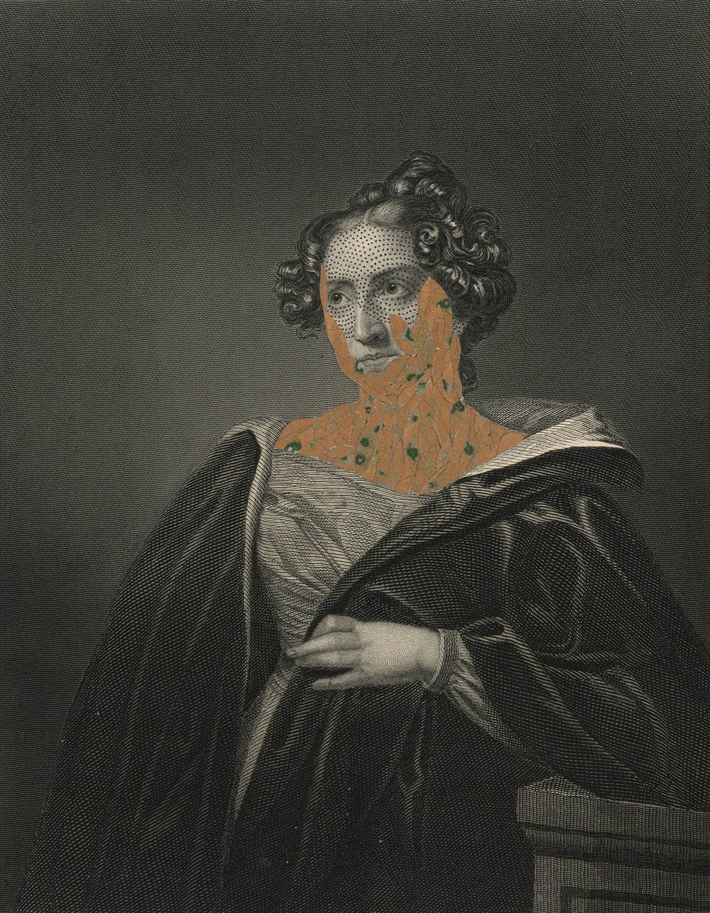 "Mrs. John Pettigrew 1860/2014  , ink and collage on 19th century engraving, 7.5"" x 5"", 2014"