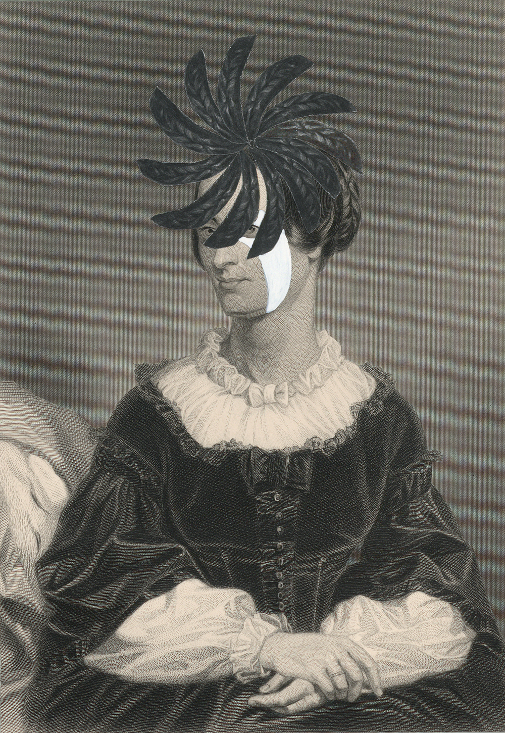 """Mrs. Jacob Brewster1859/2014  , gouache andcollage on 19th century engraving, 7"""" x 5"""", 2014"""