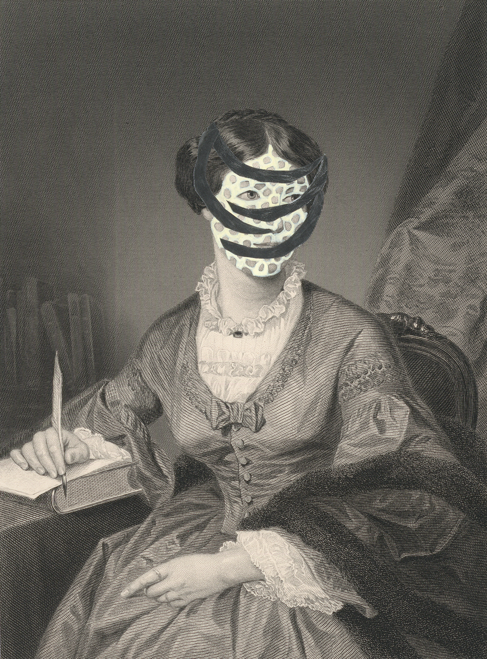 "Mrs. William Hawthorne 1860/2015 , gouache, graphite, collage on 19th century engraving, 7.5"" x 5"", 2015"